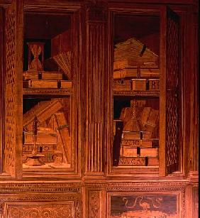 The Study of Federigo da Montefeltro, Duke of Urbino: intarsia panelling depicting a cupboard with l
