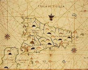 Sicily and the Straits of Messina, from a nautical atlas, 1646 (ink on vellum)