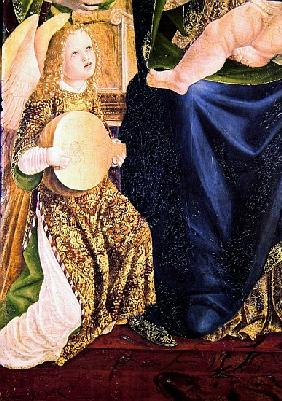 Madonna and Child with Angel Musicians, detail of an Angel Playing the Lute, c.1490-1500