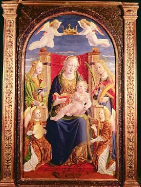 Virgin and Child with angel musicians and saints