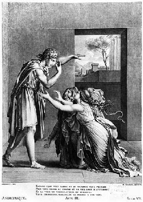Andromache at the feet of Pyrrhus, illustration from Act III Scene 7 of ''Andromaque'' Jean Racine (