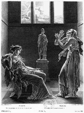 Phaedra and Oenone, illustration from Act I Scene 3 of ''Phedre'' Jean Racine (1639-99) ; engraved b