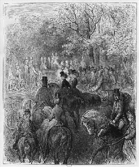 Carriages and riders at Hyde Park, illustration from ''Londres'' Louis Enault (1824-1900) 1876; engr