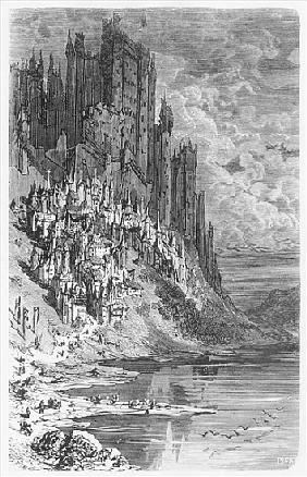 Fantasy landscape with town and castle, illustration from ''Les Contes Drolatiques'' Honore de Balza