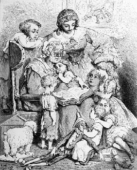 Grandmother telling a story to her grandchildren, illustrated title page from ''Les contes de Perrau