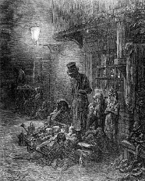 Off Billingsgate, view of Harrow Alley, from ''London, a Pilgrimage'', written by William Blanchard