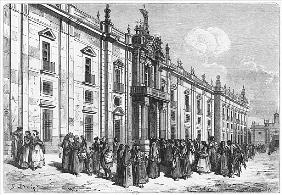 The tobacco factory at Seville; engraved by Charles Laplante (d.1903)
