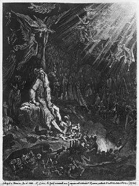 The Wandering Jew and the Last Judgement; engraved by Felix Jean Gauchard (1825-72)