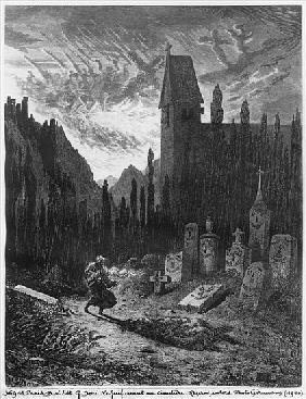The Wandering Jew in the cemetery; engraved by Octave Jahyer (b.1826)
