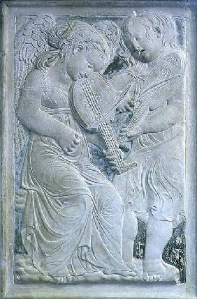 Two putti playing lutes, from the frieze of musical angels in the Chapel of Isotta degli Atti