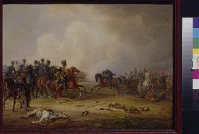 An attack of Austrian Hussars on the French battery