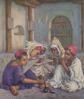 Writing Lesson in a Koranic School in an Algerian Village, 1918 (colour litho)