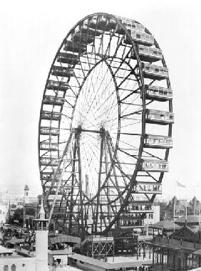 The ferris wheel at the World''s Columbian Exposition of 1893 in Chicago (b/w photo)