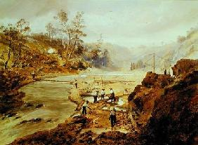 'Fortyniners' washing gold from the Calaveres River, California