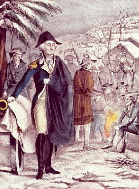 George Washington at Valley Forge, on Dec. 1777; engraved by Nathaniel Currier (1813-88)