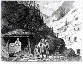 Gold and Silver Mining, Colorado - A Honey-Combed Mountain, from a drawing by Frenzeny and Tavernier