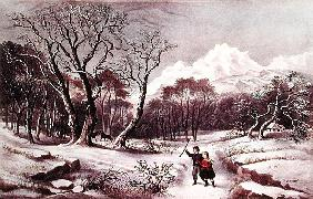 Woodlands in Winter, published Nathaniel Currier (1813-88) and James Merritt Ives (1924-95)