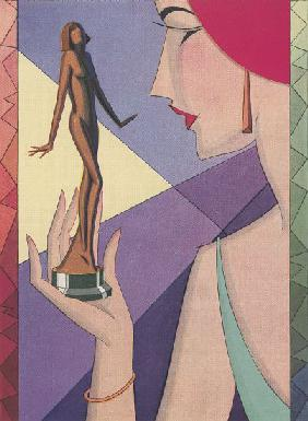 Art Deco Illustration of a Woman with a Golden Statuette