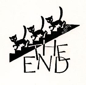 Black Cats Walking Down Stairs with 'The End'