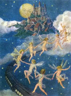 Fairies Flying to a Castle in the Sky
