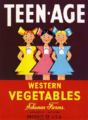 Teen-Age Western Vegetables Fruit Crate Label