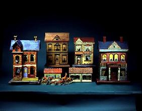 Four Two-Storey Doll's Houses - L-R: Gottschalk Blue Roof Doll's House, c. 1910; Bliss Doll's House