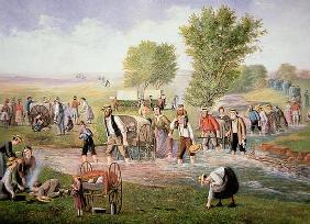 Mormon pioneers pulling handcarts on the long journey to Salt Lake City in 1856 (colour litho)