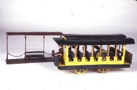 Toy Trolley and Shed, c.1900 (tin)