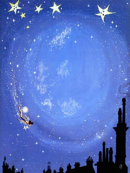 Illustration for ''Peter Pan'' by J.M. Barrie (gouache on paper)