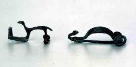 Two fibulae in the shape of animals, from Bragny sur Saone,La Tene style