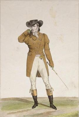 A Dandy dressed in a boat-shaped hat, a dun-coloured jacket and buckskin breeches, plate 1 from the