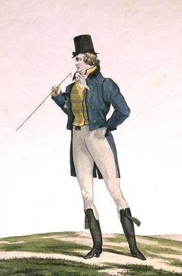 A Dandy in a Robinson hat, with childlike curls, knitted trousers, and riding boots, plate 5 in the