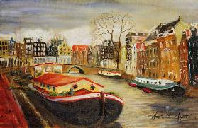 Red House Boat, Amsterdam, 1999 (oil on canvas)