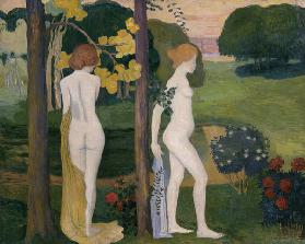 Two nude in a landscape