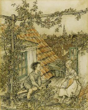 "Kay and Gerda in their garden high up on the roof. Illustration for the tale of ""The Snow Queen"""