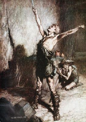 "Siegfried forges his sword. Illustration for ""Siegfried and The Twilight of the Gods"" by Richard Wag"