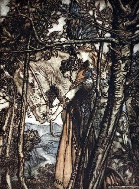"Brünnhilde leads her horse by the bridle. Illustration for ""The Rhinegold and The Valkyrie"" by Richa"