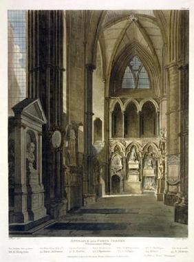 Entrance into Poet's Corner, plate 26 from 'Westminster Abbey', engraved by J. Bluck (fl.1791-1831)