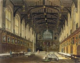 Interior of the Hall of Christ Church, illustration from the 'History of Oxford' engraved by J. Bluc