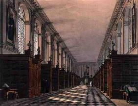 Interior of Trinity College Library, Cambridge, from 'The History of Cambridge', engraved by Daniel