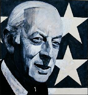 Portrait of Alistair Cooke, illustration for The Listener, 1970s