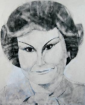 Portrait of Angela Rippon, illustration for The Media Mob (gouache and pencil on paper)
