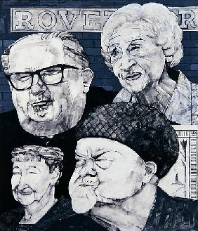 Portrait of four characters from Coronation Street, illustration for The Listener, 1970s