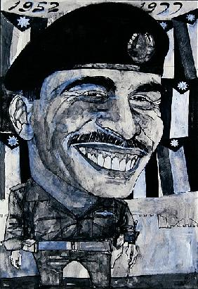 Portrait of King Hussein of Jordan, illustration for The Sunday Times, 1970s