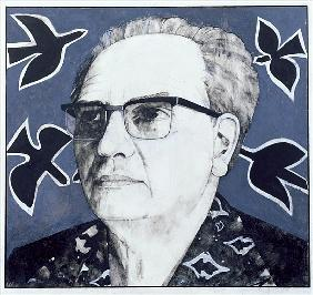Portrait of Olivier Messiaen, illustration for The Sunday Times, 1970s