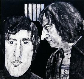 Portrait of Tom Stoppard and Andre Previn, illustration for The Sunday Times, 1970s