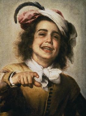 Murillo, Bartolomé Esteban Perez : Lachender Junge mit federg. - thm_1013031_v