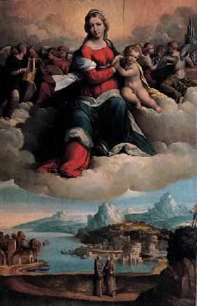 Madonna and Child in glory with the saints Anthony of Padua and Francis
