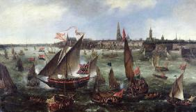 View of the Port of Antwerp during the Celebrations of the Taking of Breda, 1628 (oil on canvas)