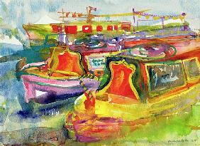 Canal Boats, 1989 (w/c on paper)